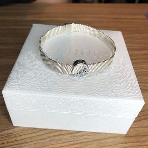 Pandora Reflections Mesh Bracelet w/ charm